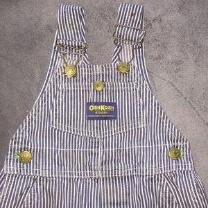 Osh Kosh B'Gosh Striped Overalls W/ Button Fly